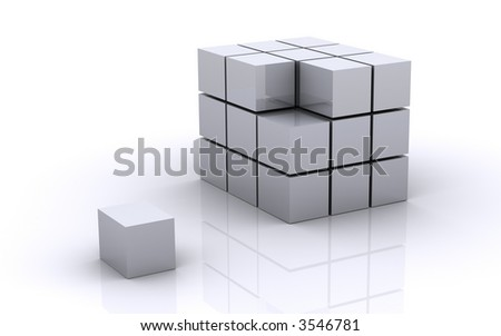 Cube with a missing piece - stock photo