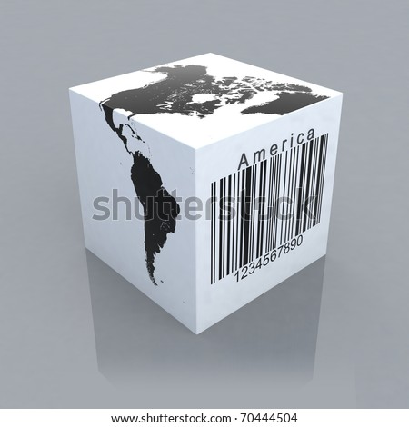 cube with america map and barcode 3d illustration