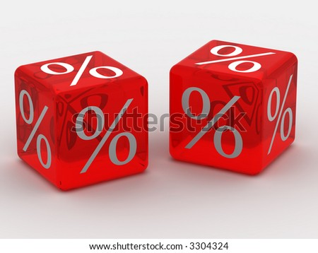 Cube with percent. 3d