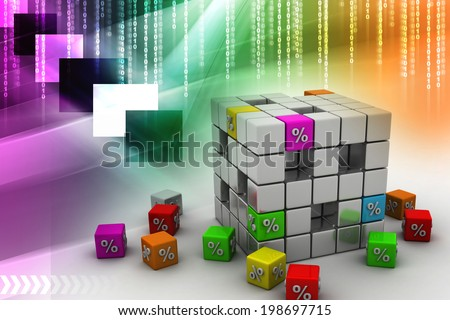 cube with some colorful elements