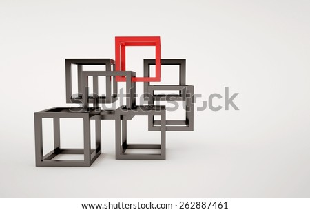 Cubes abstract composition with red and black cubes union concept - stock photo