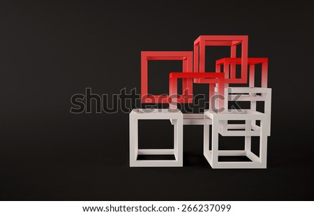 Cubes abstract composition with red and white cubes union concept - stock photo