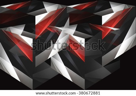 Cubes and parts of cubes in red, gray, black and white colors. Digitally rendered dynamic polyhedron composition. Abstract contemporary graphic design or futuristic background with angular pattern. - stock photo