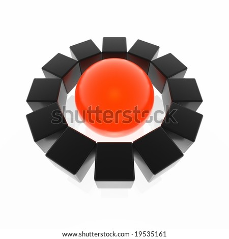 cubes around sphere (red and black series) - stock photo