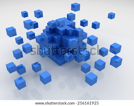 Cubes construction isolated 3D model - stock photo