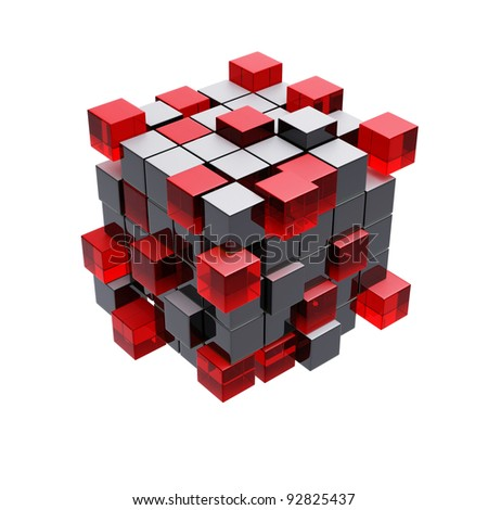 Cubes construction isolated on white 3d model - stock photo