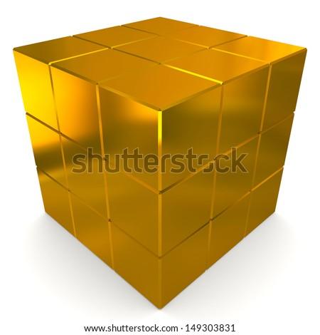 cubes 3d golden - stock photo