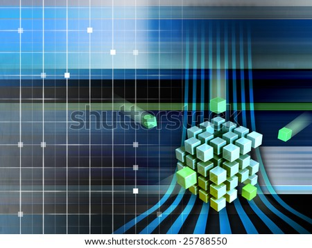 Cubes forming a larger structure in cyberspace. Digital illustration - stock photo