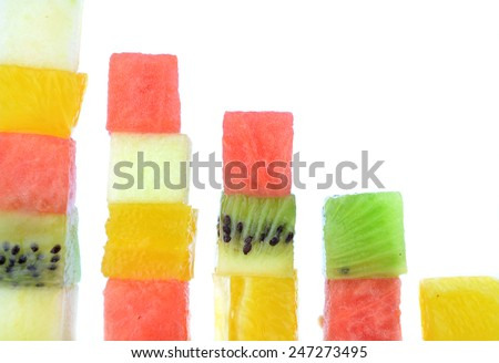 Cubes fruits - stock photo