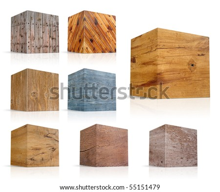 cubes in different types of wood - stock photo