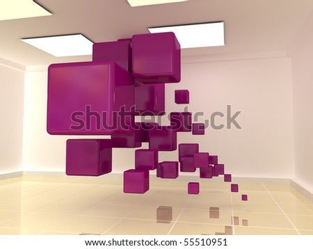 Cubes in the hall - stock photo