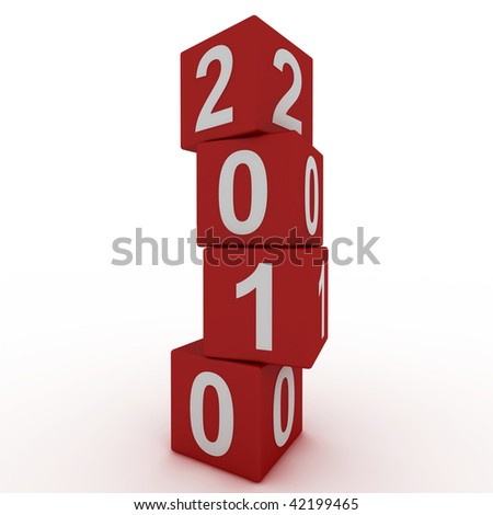Cubes New Year 2010 - stock photo