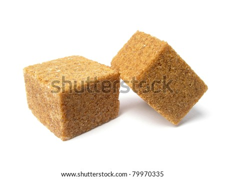 Cubes of brown sugar - stock photo