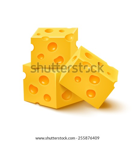 Cubes of yellow cheese on white background. Rasterized Copy - stock photo