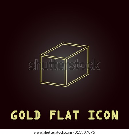 Cubes. Outline gold flat pictogram on dark background with simple text. Illustration trend icon