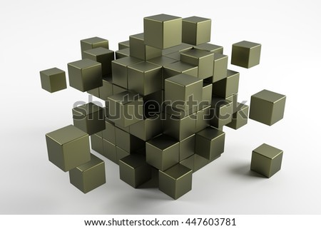 Cubes scatter in different directions. Abstract reflected objects 3D rendering