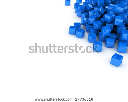 cubes scattered on white surface - stock photo