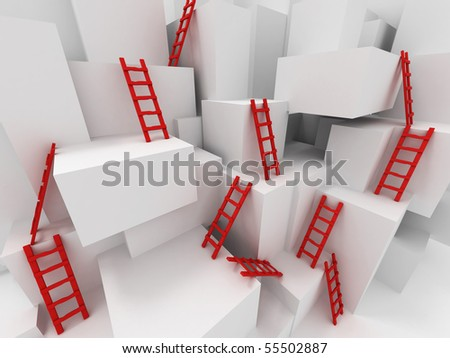 Cubes with ladders. 3d - stock photo