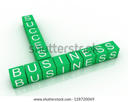 cubes with letters arranged in words business and success, white background, 3d render