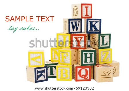 Cubes with letters isolated on white background