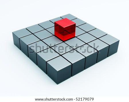 Cubes with one red cube isolated 3d model - stock photo
