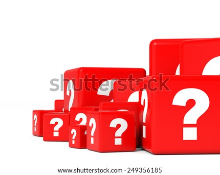 Cubes with question sign. 3D illustration.