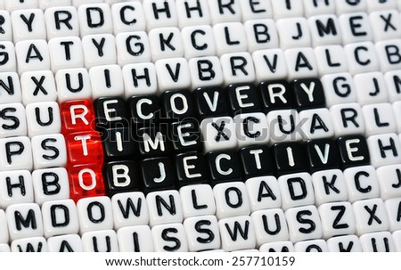cubes with text , rto recovery time objective - stock photo