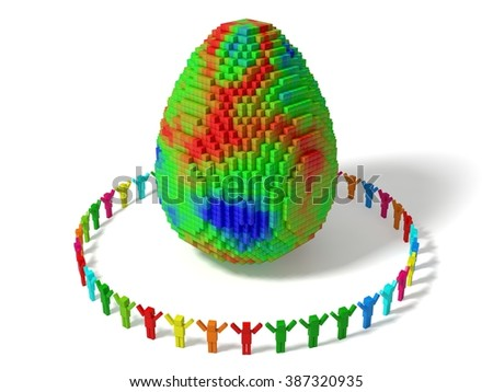 cubic characters builded egg with random colored blocks. isolated on white. - stock photo