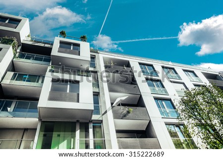 cubic designed residential house in berlin - stock photo