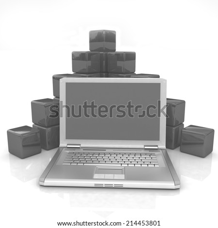 Cubic diagram structure and laptop. On a white background - stock photo
