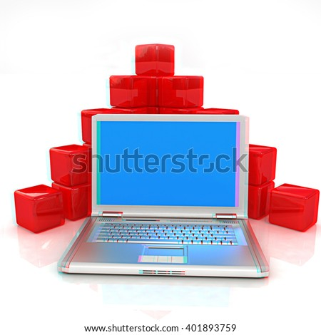 Cubic diagram structure and laptop. On a white background. Anaglyph. View with red/cyan glasses to see in 3D. - stock photo