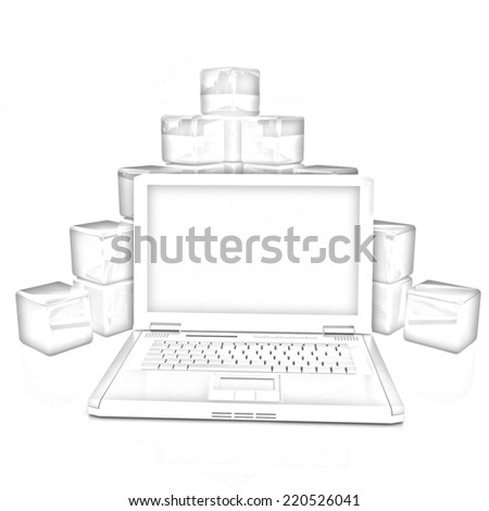Cubic diagram structure and laptop. On a white background. Pencil drawing  - stock photo