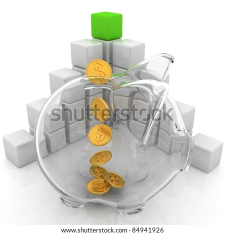 cubic diagram structure and piggy bank - stock photo