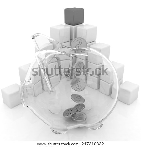 cubic diagram structure and piggy bank on a white background - stock photo
