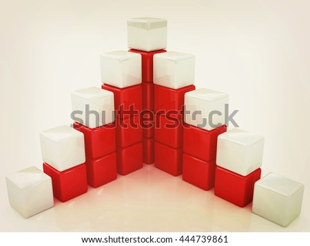 cubic diagram structure. 3D illustration. Vintage style. - stock photo