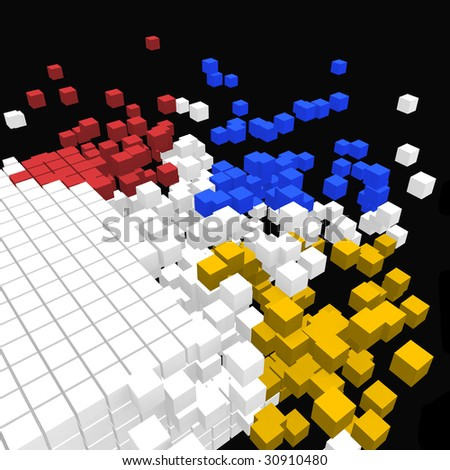 Cubic explosion - stock photo
