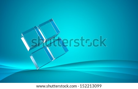 Cubic glass on blue abstract wave background. - stock photo