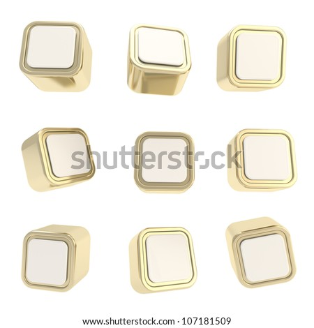 Cubic golden copyspace square buttons, set of nine isolated on white - stock photo