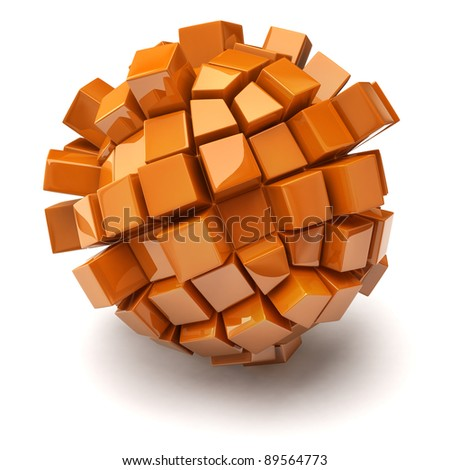 Cubic sphere on white background - stock photo