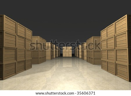 Cubic stacks of wooden boxes prepared for shipment in regular infinite rectangle array in warehouse - human eye perspective - computer generated image - stock photo