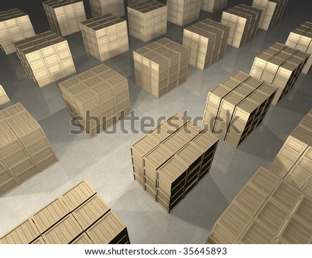 Cubic stacks of wooden boxes prepared for shipment in regular infinite rectangle array in warehouse - bird's eye view - computer generated image - stock photo