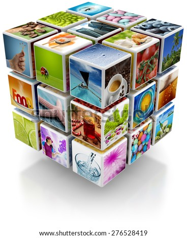 cubic structure with colorful pictures isolated on white background - stock photo