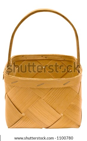 Cubic Wooden Basket w/ Path (Top Front View) - stock photo