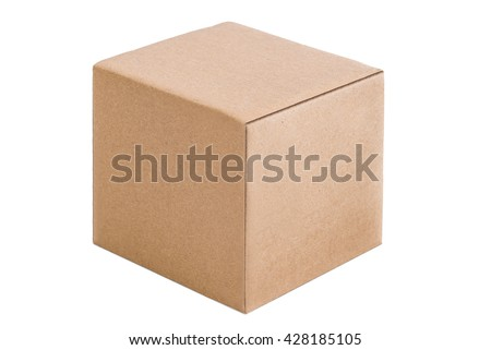 Cubical cardboard box isolated on a white background