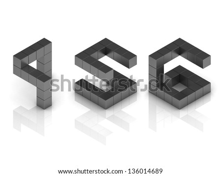 cubical 3d font numbers 4 5 6