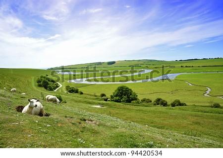 Cuckmere River Landscape - stock photo