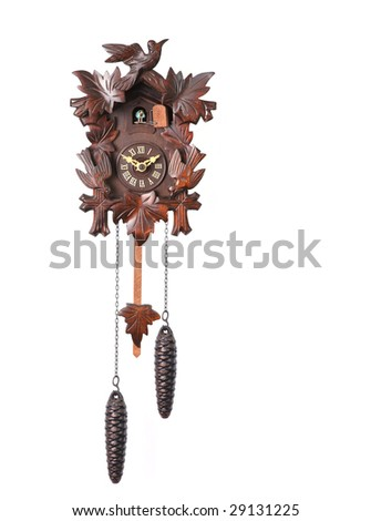 Cuckoo Clock Isolated on a White Background With Hanging Weights - stock photo