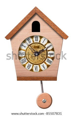 Cuckoo Clock isolated on white background, clipping path. - stock photo