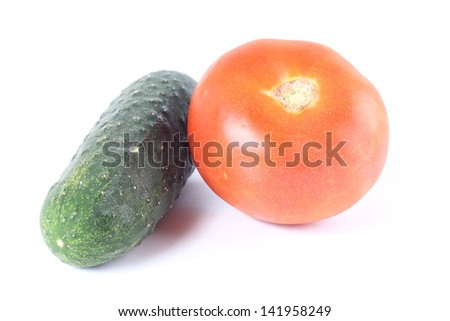 cucumber and tomato - stock photo