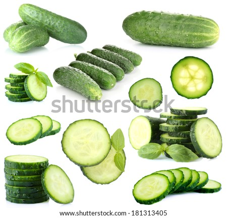 Cucumber collage isolated on white - stock photo